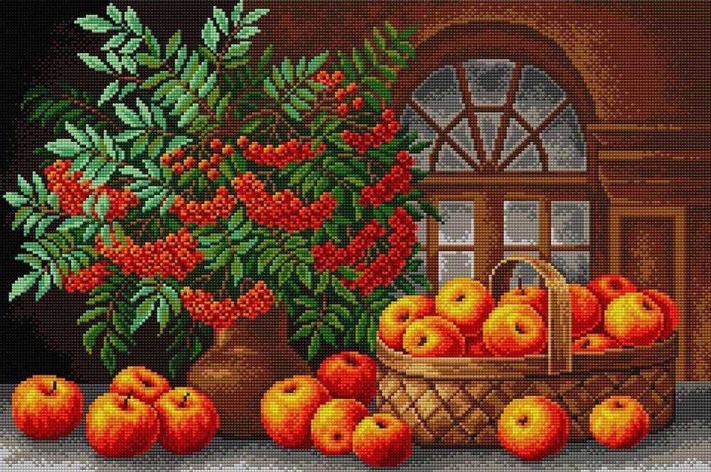 Алмазная вышивка «Осенний натюрморт»Алмазная вышивка Вышиваем бисером<br><br><br>Артикул: V-19<br>Основа: Холст без подрамника<br>Сложность: сложные<br>Размер: 40x60 см<br>Выкладка: Полная<br>Количество цветов: 22<br>Тип страз: Квадратные