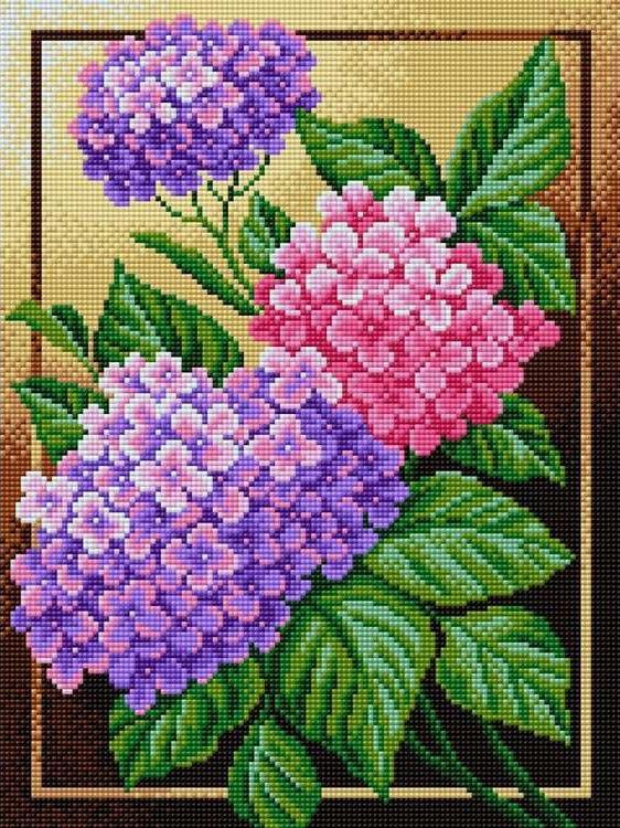 Алмазная вышивка «Гортензия»Алмазная вышивка Вышиваем бисером<br><br><br>Артикул: V-28<br>Основа: Холст без подрамника<br>Сложность: сложные<br>Размер: 30x40 см<br>Выкладка: Полная<br>Количество цветов: 18<br>Тип страз: Квадратные
