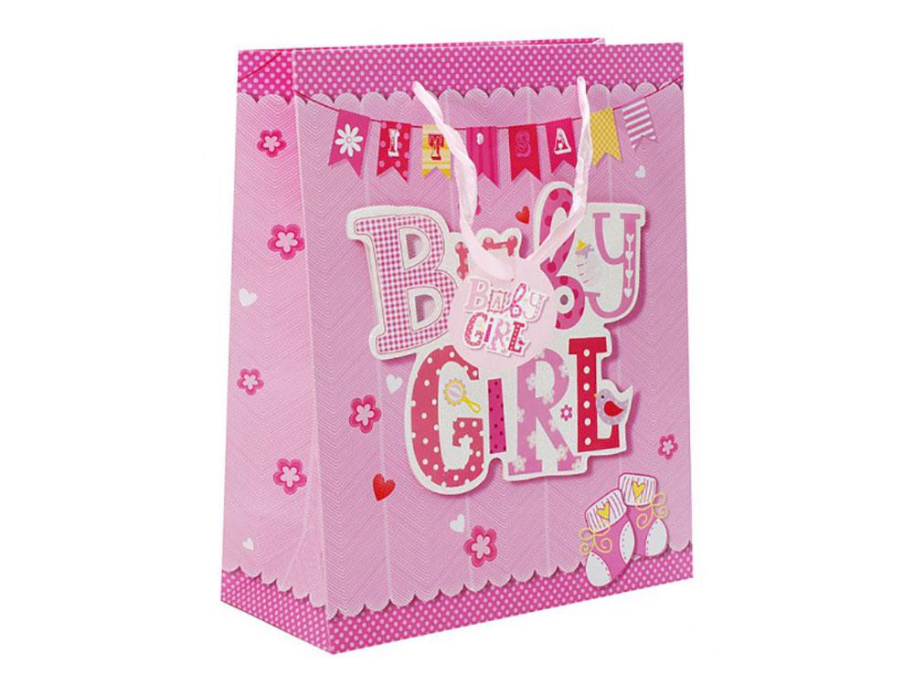 Подарочный пакет «Нашей девочке»Подарочные пакеты<br>Оригинальные подарочные пакеты станут прекрасным дополнением для вашего подарка. Пакеты выполнены из качественной плотной бумаги с хорошей печатью, объемные элементы на пакете придают дополнительный яркий акцент.<br><br>Артикул: 1063-SB<br>Размер: 26x12x32 см