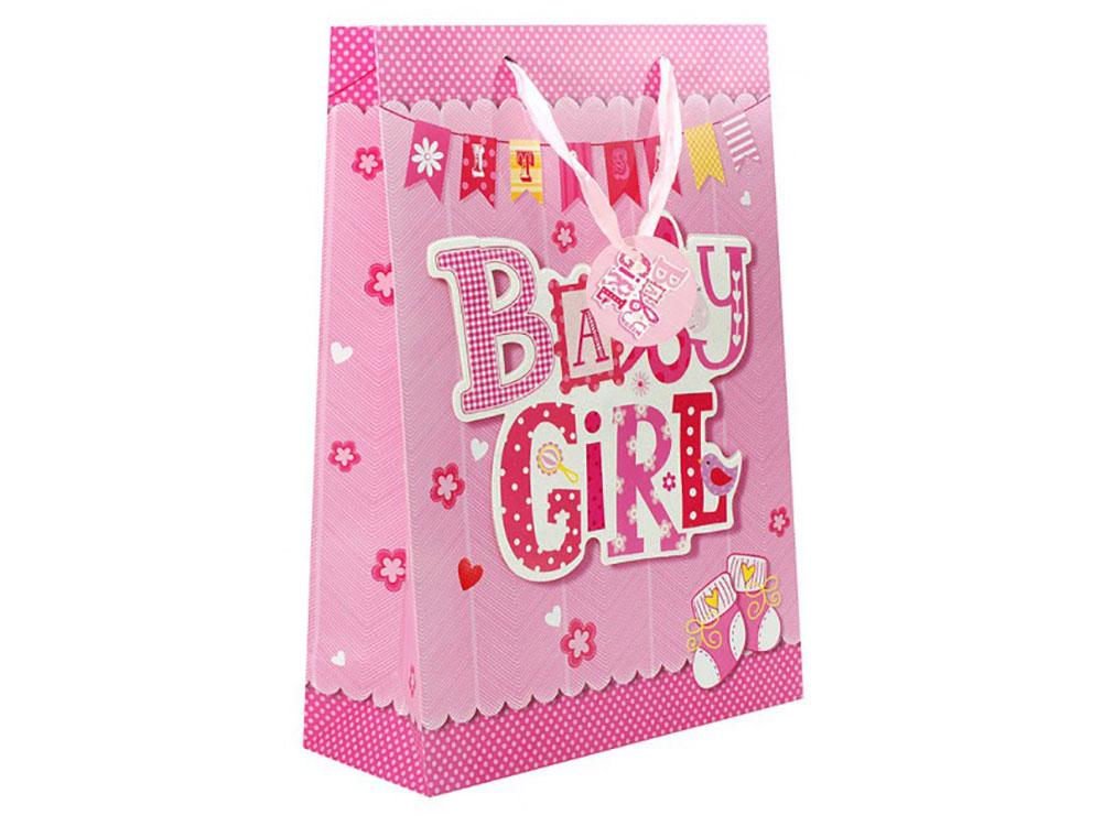 Подарочный пакет «Нашей девочке»Подарочные пакеты<br>Оригинальные подарочные пакеты станут прекрасным дополнением для вашего подарка. Пакеты выполнены из качественной плотной бумаги с хорошей печатью, объемные элементы на пакете придают дополнительный яркий акцент.<br><br>Артикул: 1066-SB<br>Размер: 30x12x42 см