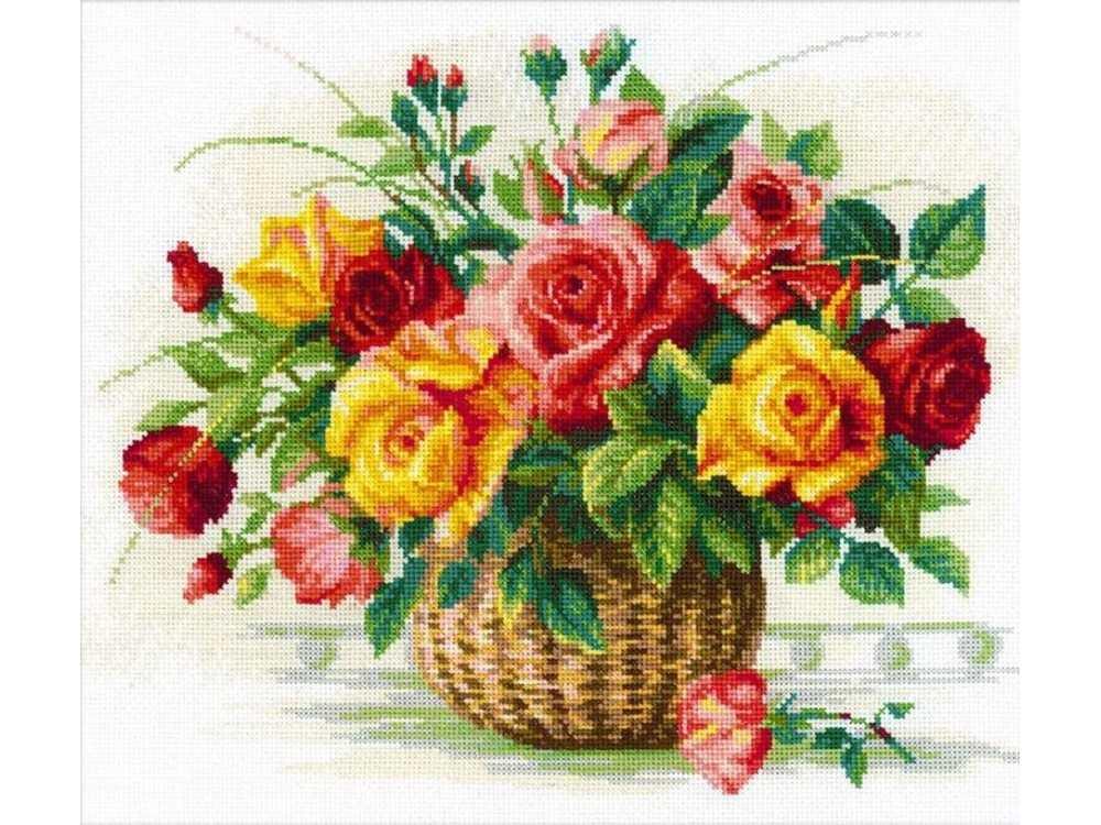 Набор для вышивания «Корзина с розами»Вышивка крестом Риолис<br><br><br>Артикул: 1722<br>Основа: канва 14 Aida Zweigart<br>Размер: 35x30 см<br>Техника вышивки: счетный крест<br>Серия: Риолис (Сотвори Сама)<br>Тип схемы вышивки: Цветная схема<br>Цвет канвы: Белый<br>Количество цветов: 29<br>Художник, дизайнер: Алина Мелентьева<br>Заполнение: Частичное<br>Рисунок на канве: не нанесён<br>Техника: Вышивка крестом<br>Нитки: мулине Anchor