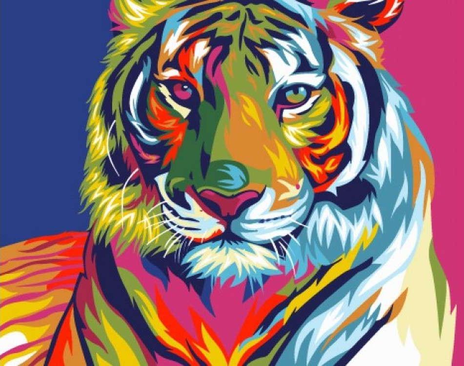 Купить Картина по номерам «Радужный тигр», Paintboy (Premium), CX3222