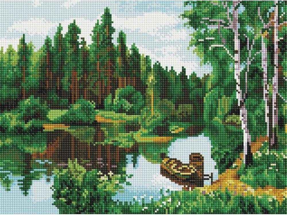Алмазная вышивка «Лодки на озере»Алмазная вышивка Painting Diamond<br><br><br>Артикул: EF252<br>Основа: Холст на подрамнике<br>Сложность: сложные<br>Размер: 30x40 см<br>Выкладка: Полная<br>Количество цветов: 27<br>Тип страз: Квадратные
