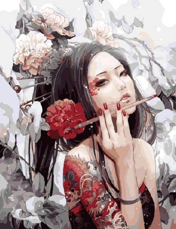 Картина по номерам «Гейша»Раскраски по номерам<br><br>