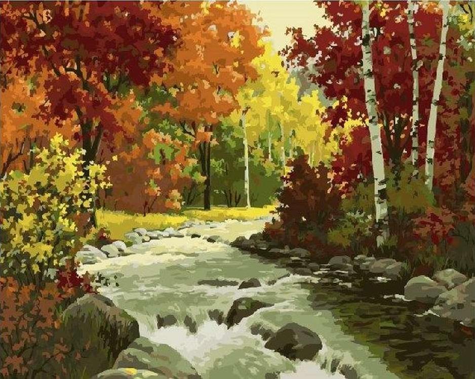 Картина по номерам «Осенняя река»Paintboy (Premium)<br><br><br>Артикул: GX21161<br>Основа: Холст<br>Сложность: сложные<br>Размер: 40x50 см<br>Количество цветов: 30<br>Техника рисования: Без смешивания красок