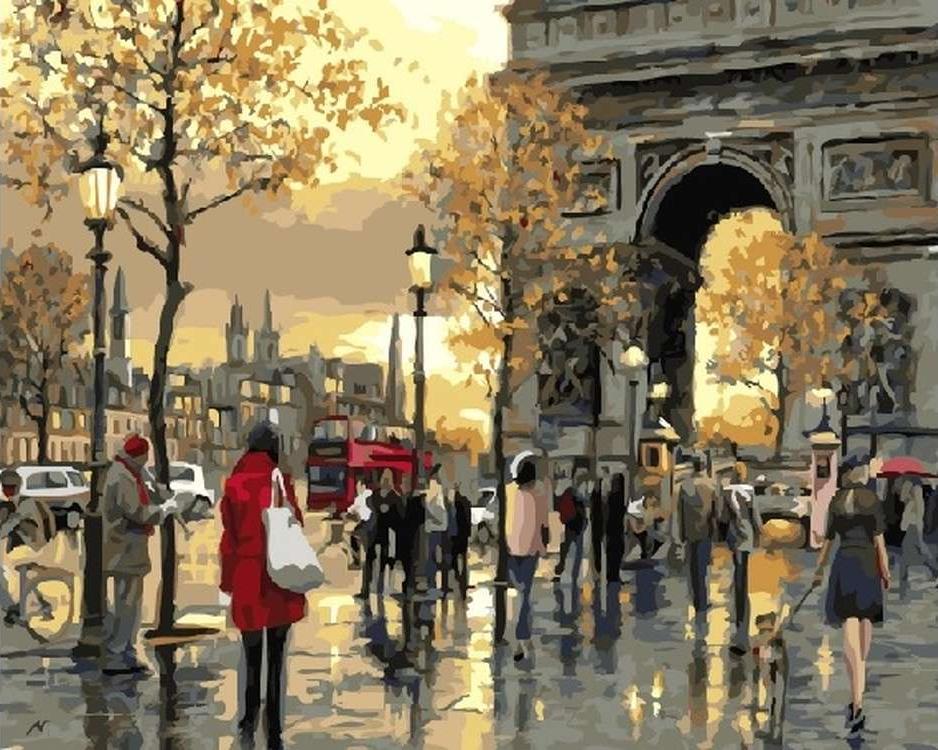 Картина по номерам «Городская суета» Ричарда МакнейлаPaintboy (Premium)<br><br><br>Артикул: GX21173<br>Основа: Холст<br>Сложность: средние<br>Размер: 40x50 см<br>Количество цветов: 27<br>Техника рисования: Без смешивания красок