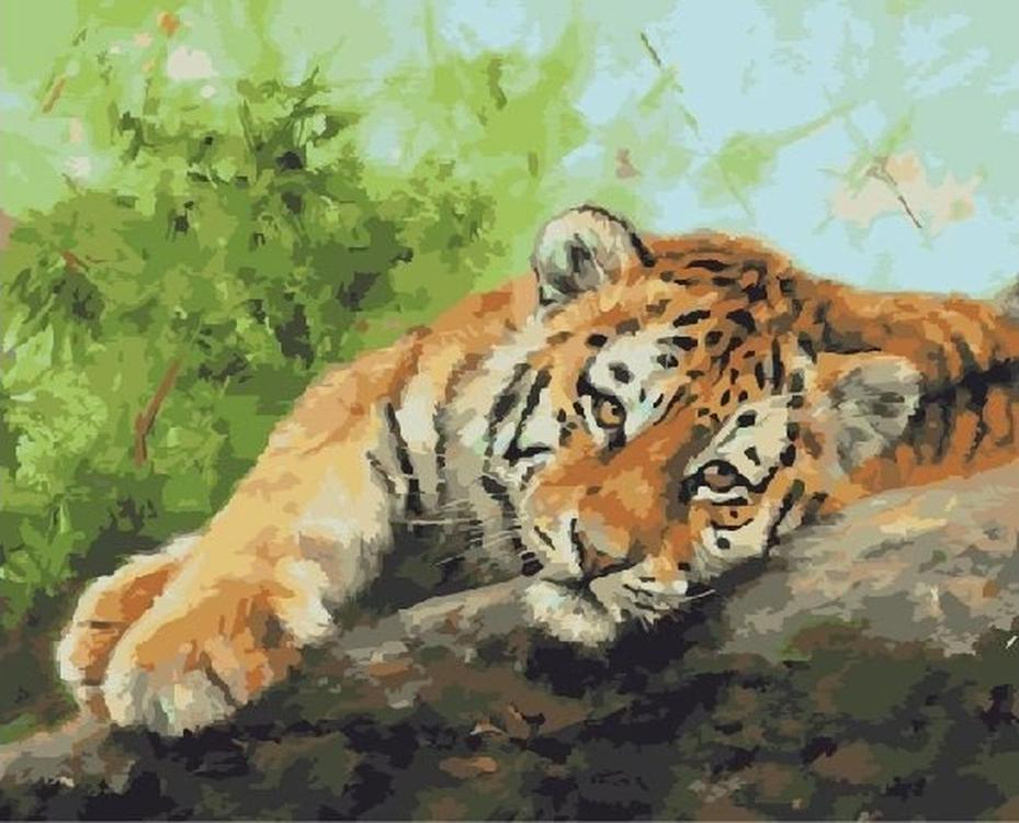 Картина по номерам «Отдыхающий тигр» Дэвида СтрибблингаРаскраски по номерам<br><br>