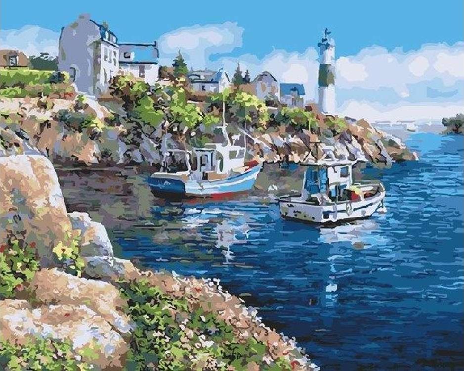 Картина по номерам «Морская бухта» Сунг Сэм ПаркаРаскраски по номерам<br><br>