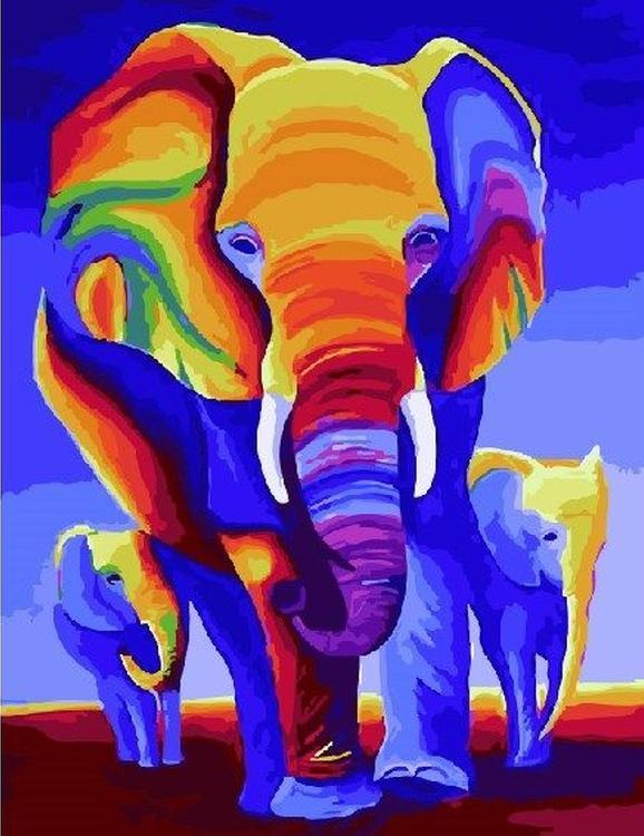 Картина по номерам «Разноцветные слоны»Paintboy (Premium)<br><br><br>Артикул: GX21244<br>Основа: Холст<br>Сложность: средние<br>Размер: 40x50 см<br>Количество цветов: 26<br>Техника рисования: Без смешивания красок