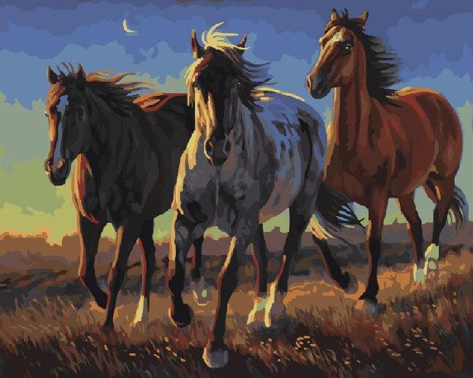 Картина по номерам «Три лошади» Нэнси ДэвидсонPaintboy (Premium)<br><br><br>Артикул: GX21863<br>Основа: Холст<br>Сложность: сложные<br>Размер см: 40x50<br>Количество цветов: 30<br>Техника рисования: Без смешивания красок