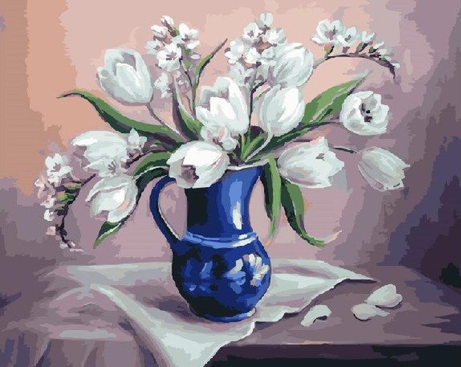 Картина по номерам «Белые тюльпаны» Анки БулгаруРаскраски по номерам<br><br>