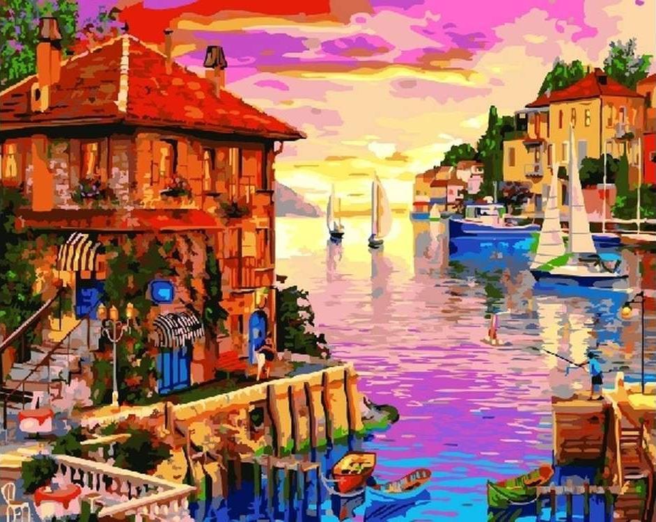Картина по номерам «Яркий залив» Доминика ДэвисонаPaintboy (Premium)<br><br><br>Артикул: GX22355<br>Основа: Холст<br>Сложность: сложные<br>Размер: 40x50 см<br>Количество цветов: 29<br>Техника рисования: Без смешивания красок