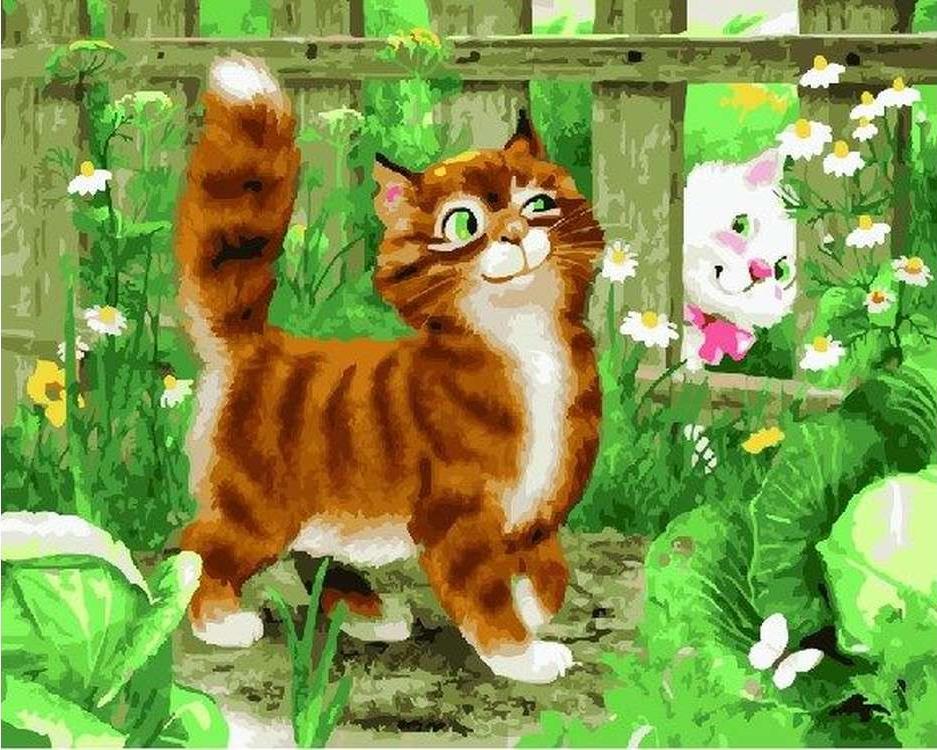 Картина по номерам «Озорные кошки»Paintboy (Premium)<br><br><br>Артикул: GX22700<br>Основа: Холст<br>Сложность: сложные<br>Размер: 40x50 см<br>Количество цветов: 28<br>Техника рисования: Без смешивания красок