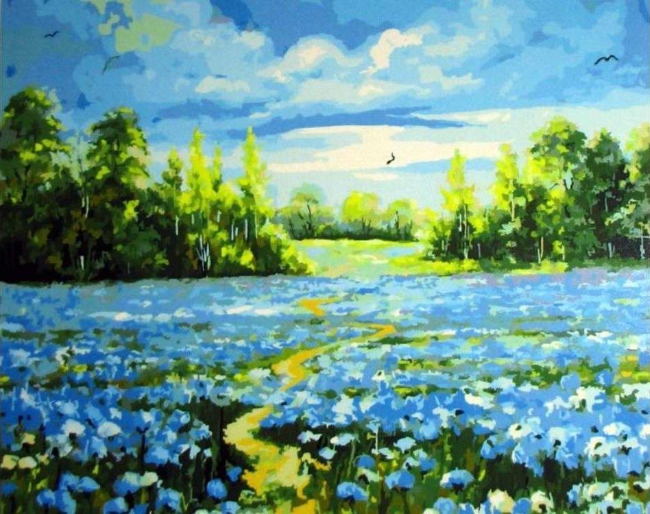 Картина по номерам «Голубое поле»Paintboy (Premium)<br><br><br>Артикул: GX3178<br>Основа: Холст<br>Сложность: сложные<br>Размер: 40x50 см<br>Количество цветов: 28<br>Техника рисования: Без смешивания красок