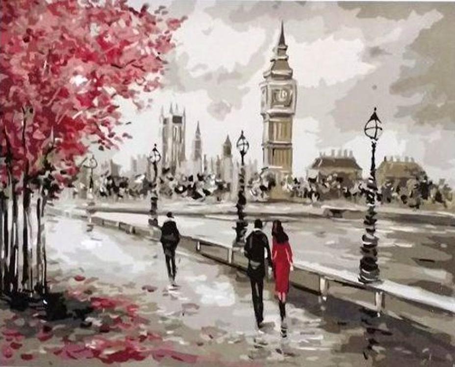 Картина по номерам «Осень в Лондоне»Paintboy (Premium)<br><br><br>Артикул: GX4186<br>Основа: Холст<br>Сложность: средние<br>Размер: 40x50 см<br>Количество цветов: 20<br>Техника рисования: Без смешивания красок