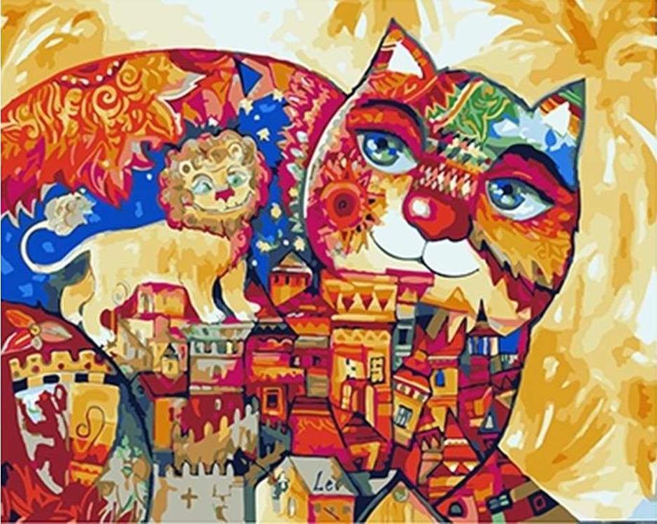 Картина по номерам «Город цветной кошки» Оксаны ЗаикиPaintboy (Premium)<br><br><br>Артикул: GX4793<br>Основа: Холст<br>Сложность: средние<br>Размер: 40x50 см<br>Количество цветов: 22<br>Техника рисования: Без смешивания красок
