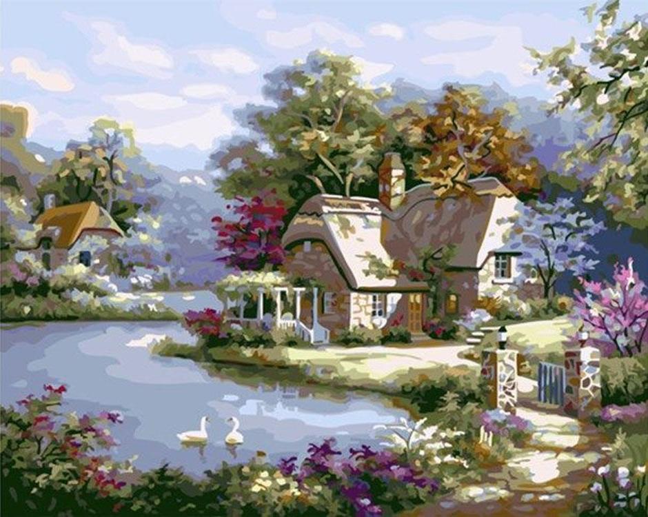 Картина по номерам «Дома у залива» Сен КимаPaintboy (Premium)<br><br>