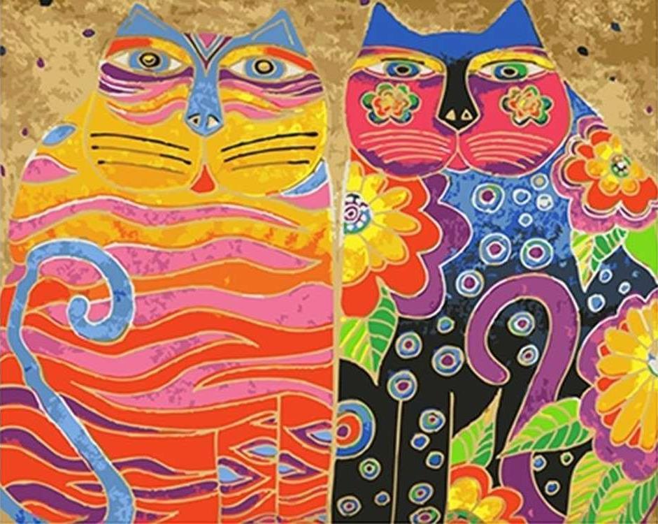 Картина по номерам «Два цветных кота» Лаурель БёрчPaintboy (Premium)<br><br><br>Артикул: GX4849<br>Основа: Холст<br>Сложность: средние<br>Размер: 40x50 см<br>Количество цветов: 24<br>Техника рисования: Без смешивания красок