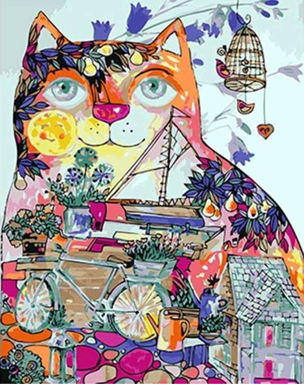 Картина по номерам «Мир внутри кота» Оксаны ЗаикиPaintboy (Premium)<br><br><br>Артикул: GX4871<br>Основа: Холст<br>Сложность: средние<br>Размер: 40x50 см<br>Количество цветов: 22<br>Техника рисования: Без смешивания красок