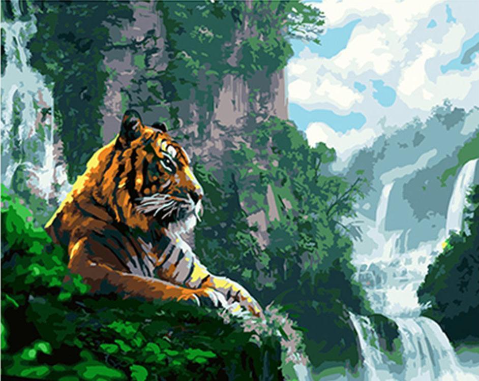 Картина по номерам «Тигр у водопада»Paintboy (Premium)<br><br><br>Артикул: GX4908<br>Основа: Холст<br>Сложность: средние<br>Размер: 40x50 см<br>Количество цветов: 22<br>Техника рисования: Без смешивания красок