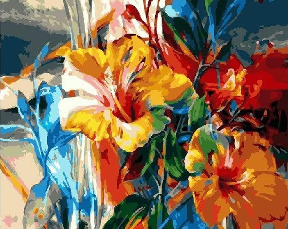 Картина по номерам «Яркие лилии» Ви Данн-ХаррPaintboy (Premium)<br><br><br>Артикул: GX5146<br>Основа: Холст<br>Сложность: средние<br>Размер: 40x50 см<br>Количество цветов: 27<br>Техника рисования: Без смешивания красок
