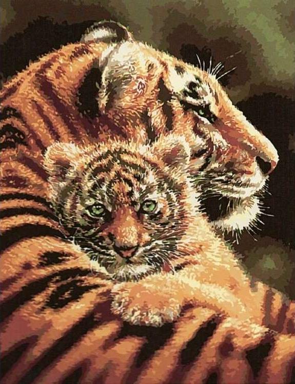 Картина по номерам «Тигрица с тигренком»Paintboy (Premium)<br><br><br>Артикул: GX5355<br>Основа: Холст<br>Сложность: средние<br>Размер: 40x50 см<br>Количество цветов: 23<br>Техника рисования: Без смешивания красок