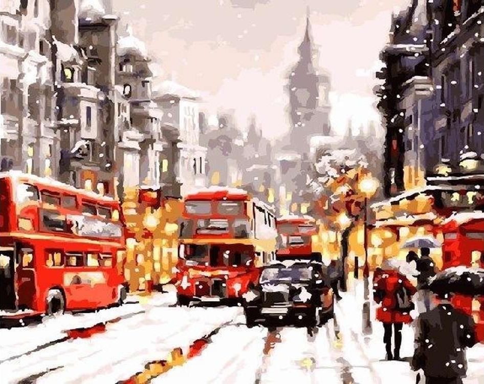 Картина по номерам «Зимний Лондон» Ричарда МакнейлаPaintboy (Premium)<br><br><br>Артикул: GX5395<br>Основа: Холст<br>Сложность: средние<br>Размер: 40x50 см<br>Количество цветов: 24<br>Техника рисования: Без смешивания красок