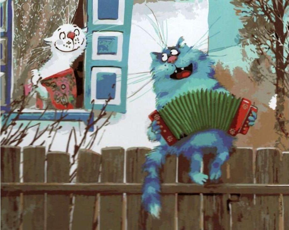 Картина по номерам «Серенада на заборе» Рины Зенюк