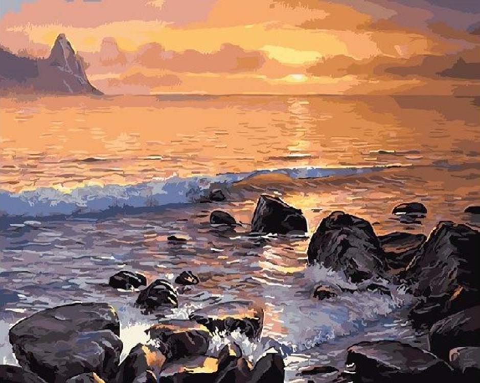 Картина по номерам «Каменистый  берег моря»Цветной (Standart)<br><br><br>Артикул: GX5749_Z<br>Основа: Холст<br>Сложность: средние<br>Размер: 40x50 см<br>Количество цветов: 26<br>Техника рисования: Без смешивания красок