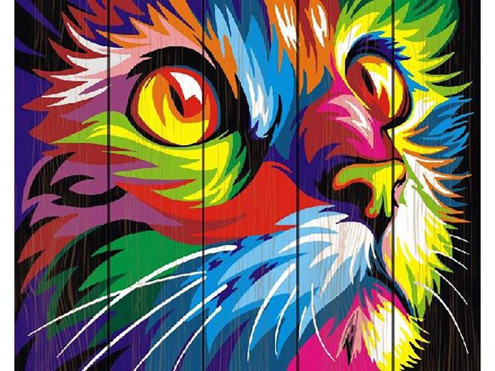Картина по номерам по дереву Paintboy «Радужный кот» Ваю РомдониКартины по номерам по дереву Dali<br><br><br>Артикул: GXT4228<br>Основа: Деревянное панно<br>Сложность: легкие<br>Размер: 40x50 см<br>Количество цветов: 17<br>Техника рисования: Без смешивания красок