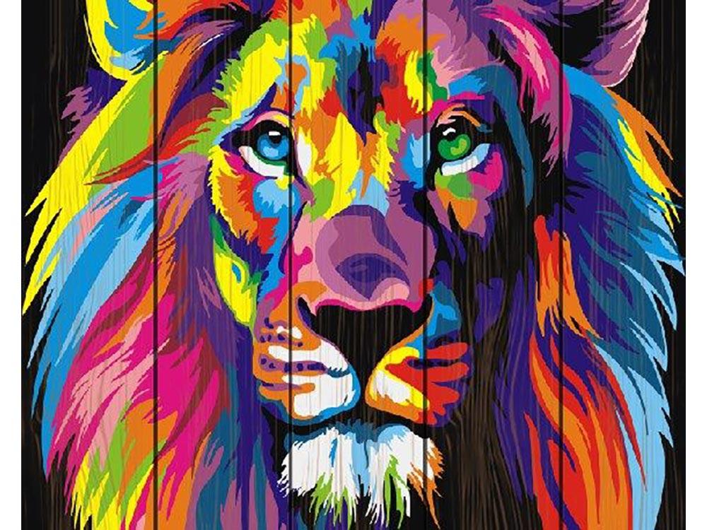 Купить Картина по номерам по дереву Paintboy «Радужный лев» Ваю Ромдони, Paintboy (Premium)