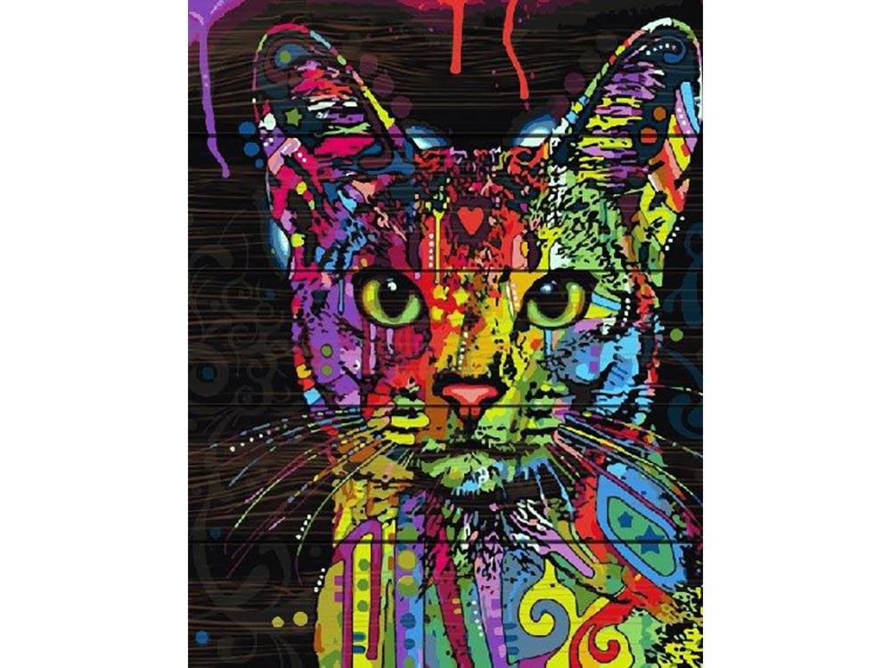 Картина по номерам по дереву Paintboy «Радужный кот» Дина РуссоКартины по номерам по дереву Dali<br><br><br>Артикул: GXT9868<br>Основа: Деревянное панно<br>Сложность: средние<br>Размер: 40x50 см<br>Количество цветов: 24<br>Техника рисования: Без смешивания красок