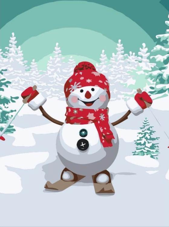 Картина по номерам «Снеговик на лыжах»Раскраски по номерам<br><br>