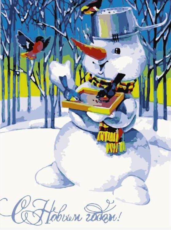 Картина по номерам «Снеговик и снегири»Цветной (Premium)<br><br><br>Артикул: MC1052_Z<br>Основа: Холст<br>Сложность: средние<br>Размер: 20x30 см<br>Количество цветов: 16<br>Техника рисования: Без смешивания красок