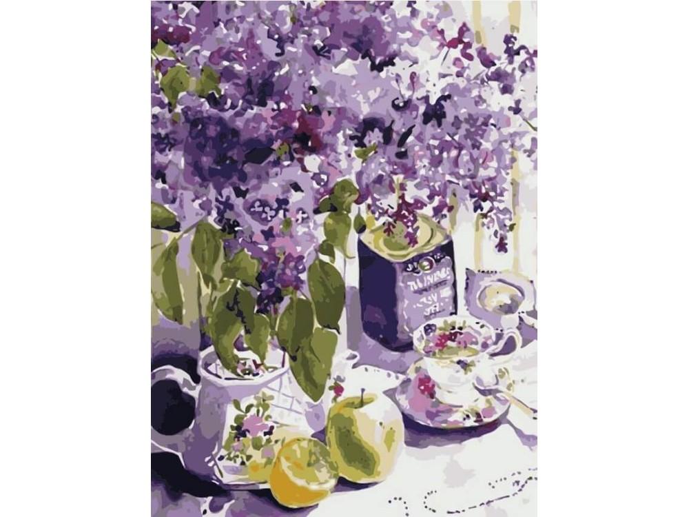 Картина по номерам «Сиреневое чаепитие»Цветной (Premium)<br><br><br>Артикул: ME1084_Z<br>Основа: Холст<br>Сложность: средние<br>Размер: 30x40 см<br>Количество цветов: 22<br>Техника рисования: Без смешивания красок