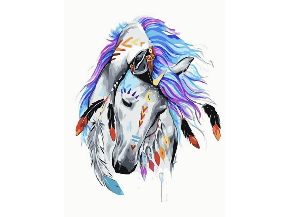 Картина по номерам «Индейская красотка»Цветной (Premium)<br><br><br>Артикул: ME1087_Z<br>Основа: Холст<br>Сложность: средние<br>Размер: 30x40 см<br>Количество цветов: 22<br>Техника рисования: Без смешивания красок