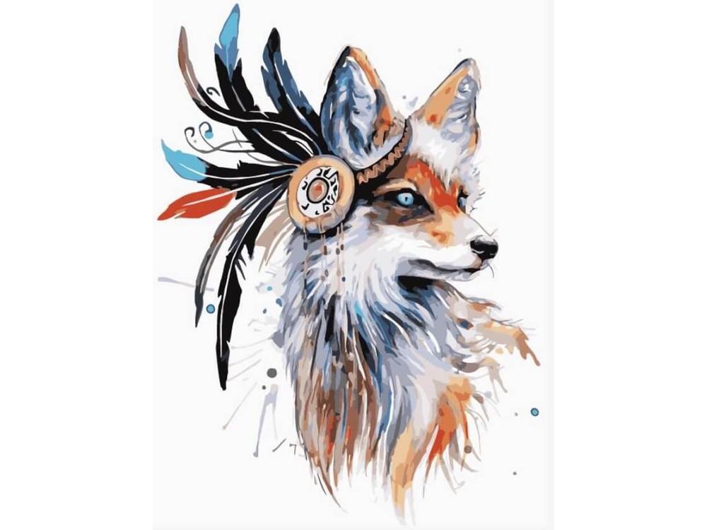 Картина по номерам «Лиса-индеец»Цветной (Premium)<br><br>