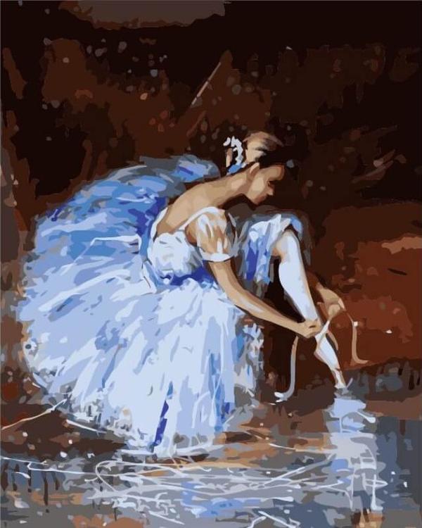 Картина по номерам  «Подготовка к танцу»Цветной (Premium)<br><br><br>Артикул: MG2052_Z<br>Основа: Цветной холст<br>Сложность: сложные<br>Размер: 40x50 см<br>Количество цветов: 24<br>Техника рисования: Без смешивания красок
