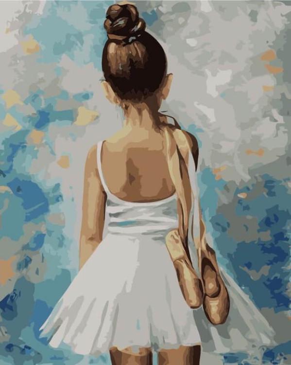 Картина по номерам  «Маленькая балерина»Цветной (Premium)<br><br><br>Артикул: MG2054_Z<br>Основа: Цветной холст<br>Сложность: сложные<br>Размер: 40x50 см<br>Количество цветов: 24<br>Техника рисования: Без смешивания красок