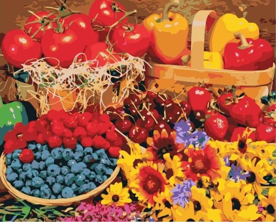 Картина по номерам  «Урожайная пора»Цветной (Premium)<br><br><br>Артикул: MG3299_Z<br>Основа: Цветной холст<br>Сложность: сложные<br>Размер: 40x50 см<br>Количество цветов: 23<br>Техника рисования: Без смешивания красок