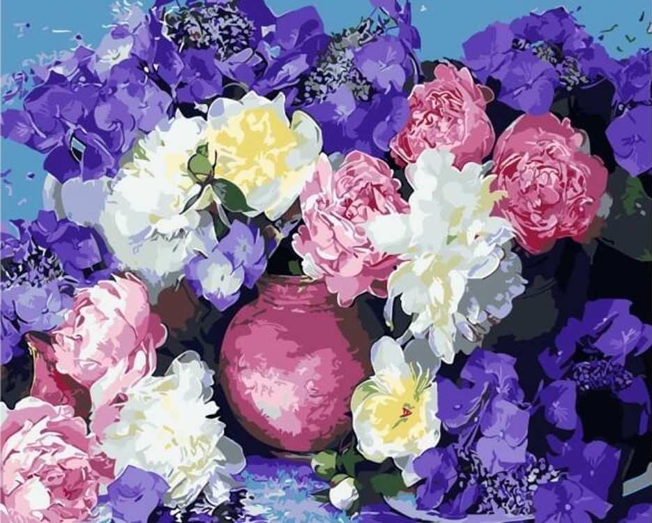 Картина по номерам «Пышноцветье»Цветной (Premium)<br><br><br>Артикул: MG6142_Z<br>Основа: Цветной холст<br>Сложность: сложные<br>Размер: 40x50 см<br>Количество цветов: 24-30<br>Техника рисования: Без смешивания красок