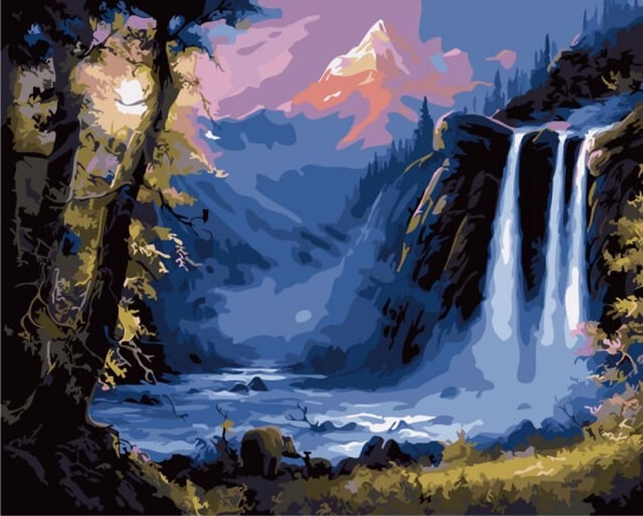 Картина по номерам «Водопад» Джесси БарнсаЦветной (Premium)<br><br><br>Артикул: MG6174_Z<br>Основа: Цветной холст<br>Сложность: сложные<br>Размер: 40x50 см<br>Количество цветов: 23<br>Техника рисования: Без смешивания красок