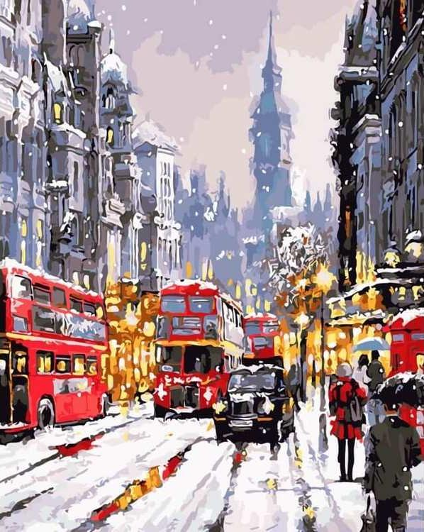 Картина по номерам «Зимний Лондон» Ричарда МакнейлаЦветной (Premium)<br><br><br>Артикул: MG6759_Z<br>Основа: Цветной холст<br>Сложность: сложные<br>Размер: 40x50 см<br>Количество цветов: 24<br>Техника рисования: Без смешивания красок