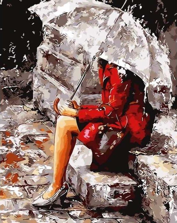Картина по номерам «Девушка на крыльце» Эмерико ТотаЦветной (Premium)<br><br><br>Артикул: MG6911_Z<br>Основа: Цветной холст<br>Сложность: сложные<br>Размер: 40x50 см<br>Количество цветов: 24<br>Техника рисования: Без смешивания красок