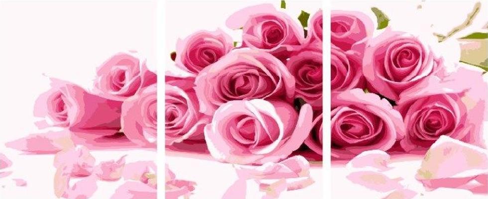 Картина по номерам «Охапка роз»Paintboy (Premium)<br><br><br>Артикул: P024<br>Основа: Холст<br>Сложность: легкие<br>Размер: 3 шт. 40x50 см<br>Количество цветов: 19<br>Техника рисования: Без смешивания красок