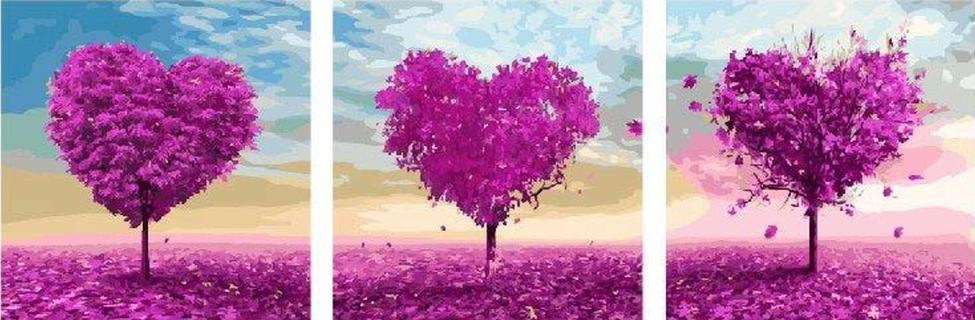Картина по номерам «Дерево-сердце»Paintboy (Premium)<br><br><br>Артикул: P070<br>Основа: Холст<br>Сложность: средние<br>Размер: 3 шт. 50x50 см<br>Количество цветов: 35<br>Техника рисования: Без смешивания красок