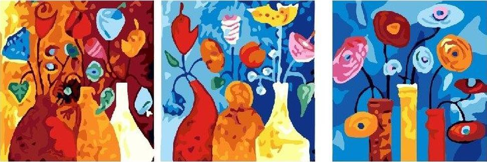 Картина по номерам «Абстрактные цветы»Paintboy (Premium)<br><br><br>Артикул: PX5015<br>Основа: Холст<br>Сложность: средние<br>Размер: 3 шт. 50x50 см<br>Количество цветов: 26<br>Техника рисования: Без смешивания красок