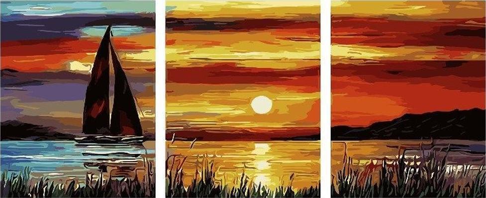 Картина по номерам «Закат» Леонида АфремоваPaintboy (Premium)<br><br><br>Артикул: PX5101<br>Основа: Холст<br>Сложность: средние<br>Размер: 3 шт. 40x50 см<br>Количество цветов: 32<br>Техника рисования: Без смешивания красок