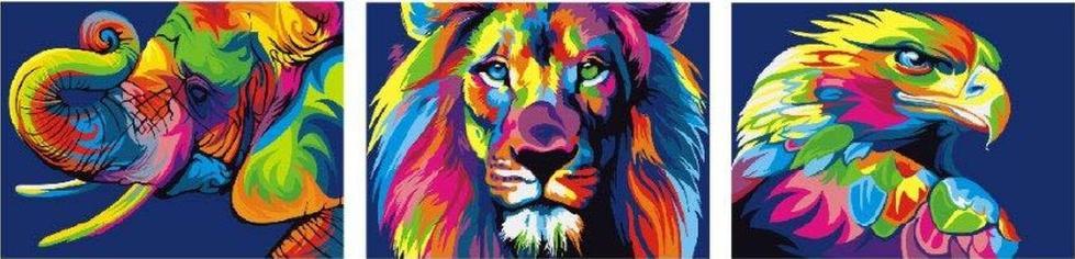 Картина по номерам «Радужные звери» Ваю РомдониPaintboy (Premium)<br><br><br>Артикул: PX5148<br>Основа: Холст<br>Сложность: средние<br>Размер: 3 шт. 50x50 см<br>Количество цветов: 21<br>Техника рисования: Без смешивания красок