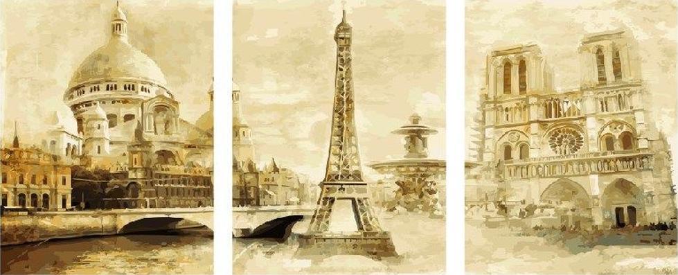 Картина по номерам «Париж»Paintboy (Premium)<br><br><br>Артикул: PX5162<br>Основа: Холст<br>Сложность: сложные<br>Размер: 3 шт. 40x50 см<br>Количество цветов: 32<br>Техника рисования: Без смешивания красок